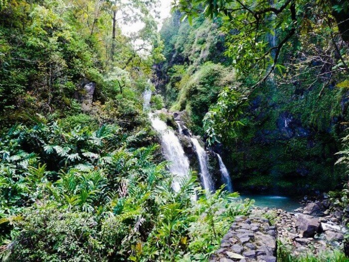 Maui Itinerary Waterfall on Road to Hana in Maui
