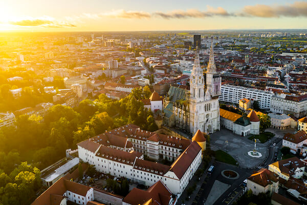Aerial View of Zagreb at Sunrise