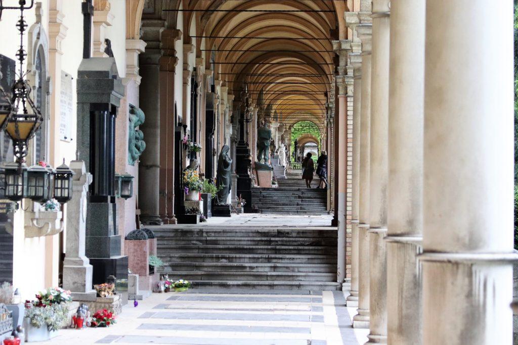 Beautiful arcades in Mirogoj Cemetery