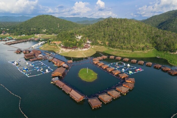 An aerial view of Ananta River Hills Resort - affordable overwater bungalows
