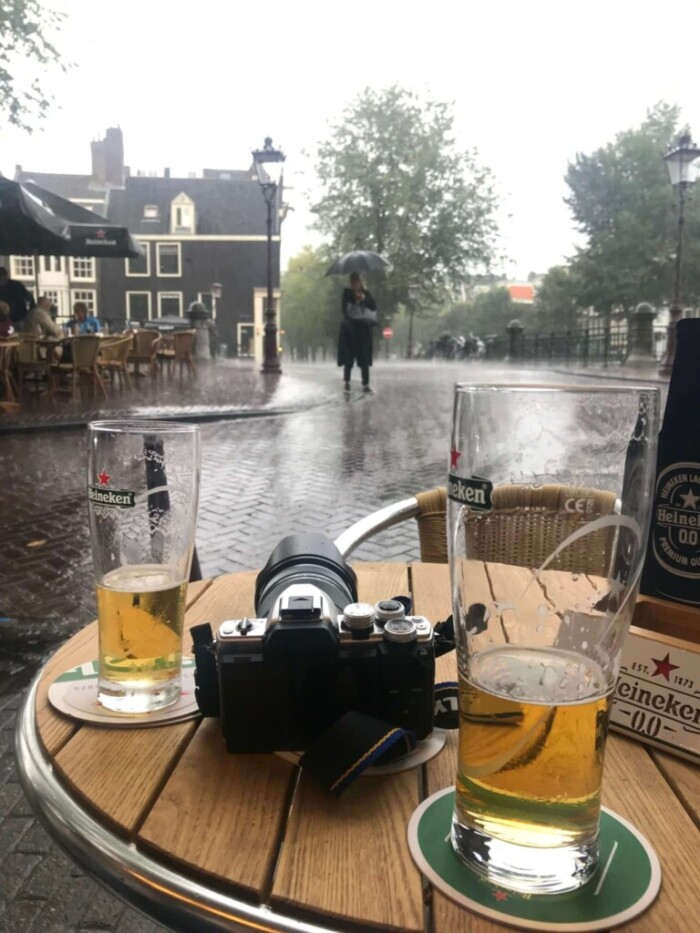 Rainy Amsterdam Cafe and Heineken