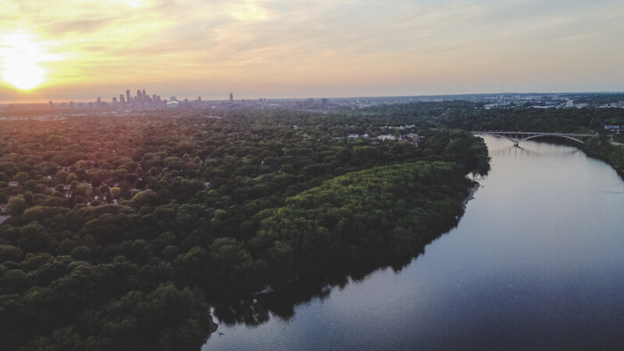 Aerial View of Minneapolis and Mississippi River