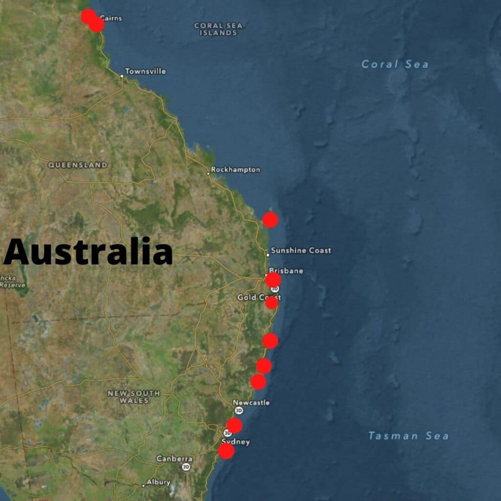 East Coast of Australia Map with 10 Beaches Marked in Red Dots