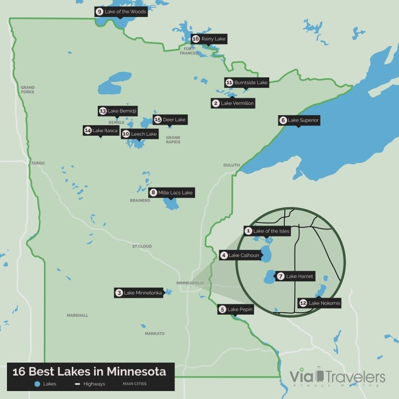 Map of the Best Lakes in Minnesota