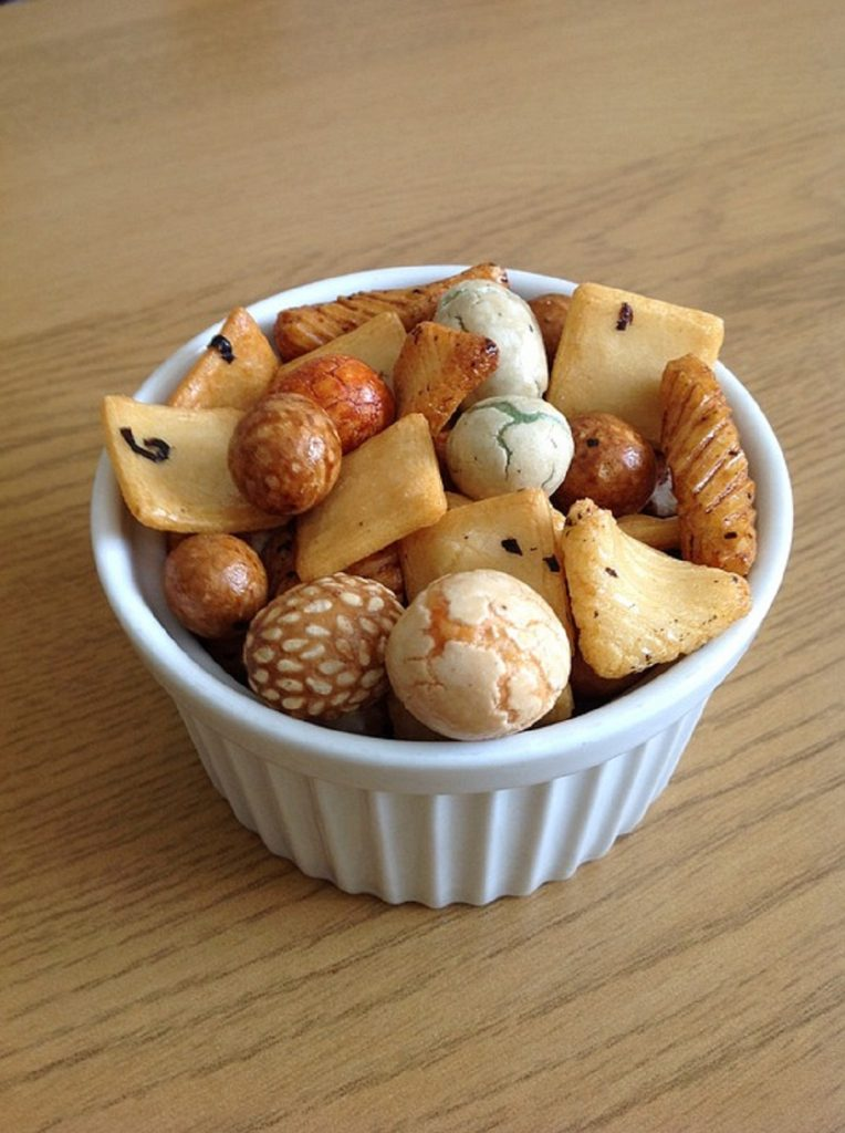 Rice crackers in a bowl