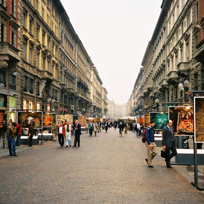 The Via Dante commercial street in Milan