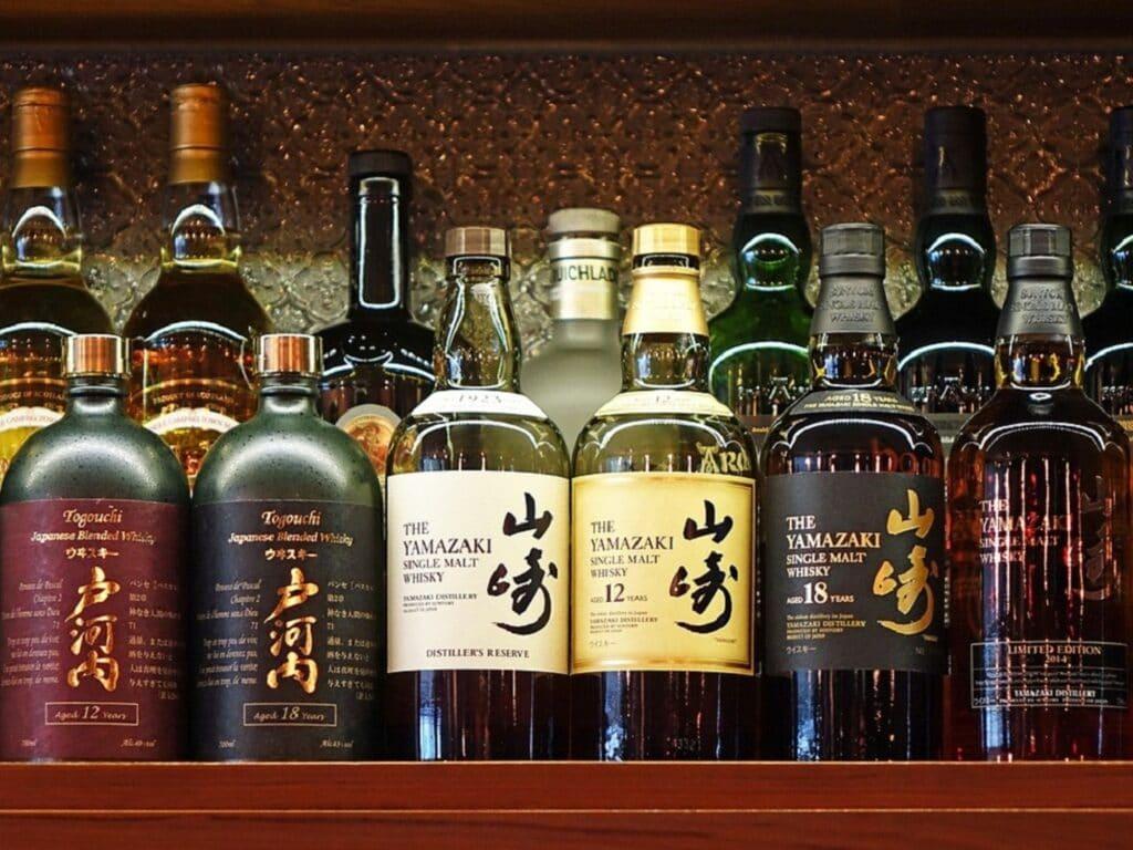 Bottles of award winning Japanese Whiskey