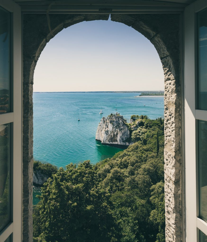 window showcasing bay area with trees and bright blue water