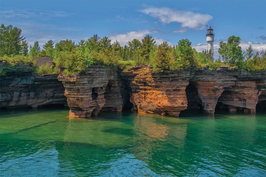 apostle islands, Wisconsin- green water with separated mountains