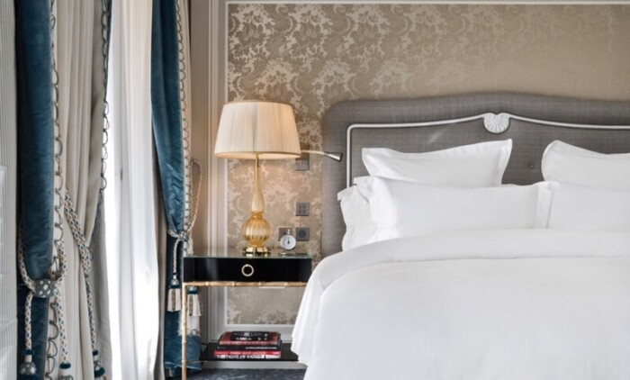 Luxury bed linens in the Grand Premier Suite of the Hotel Crillon