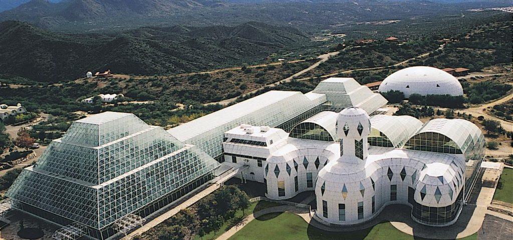 biosphere 2 in oracle, arizona aerial shot of multiple buildings