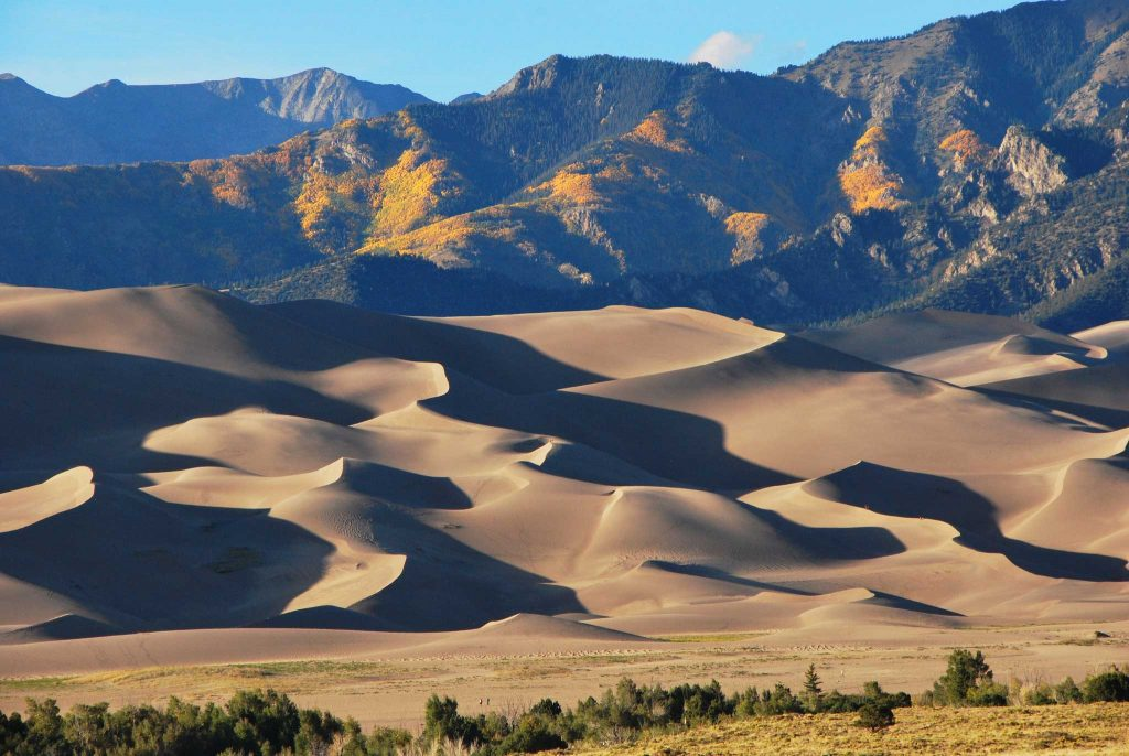 wavy sanddune with mountain in back