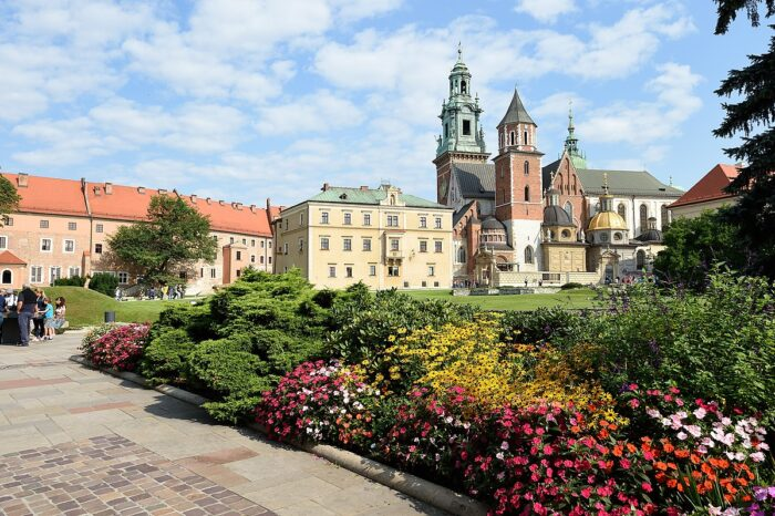In the Warsaw vs Krakow comparison, castles are a tie since both cities have many castles. This is Wawel Royal Castle in Krakow, Poland.