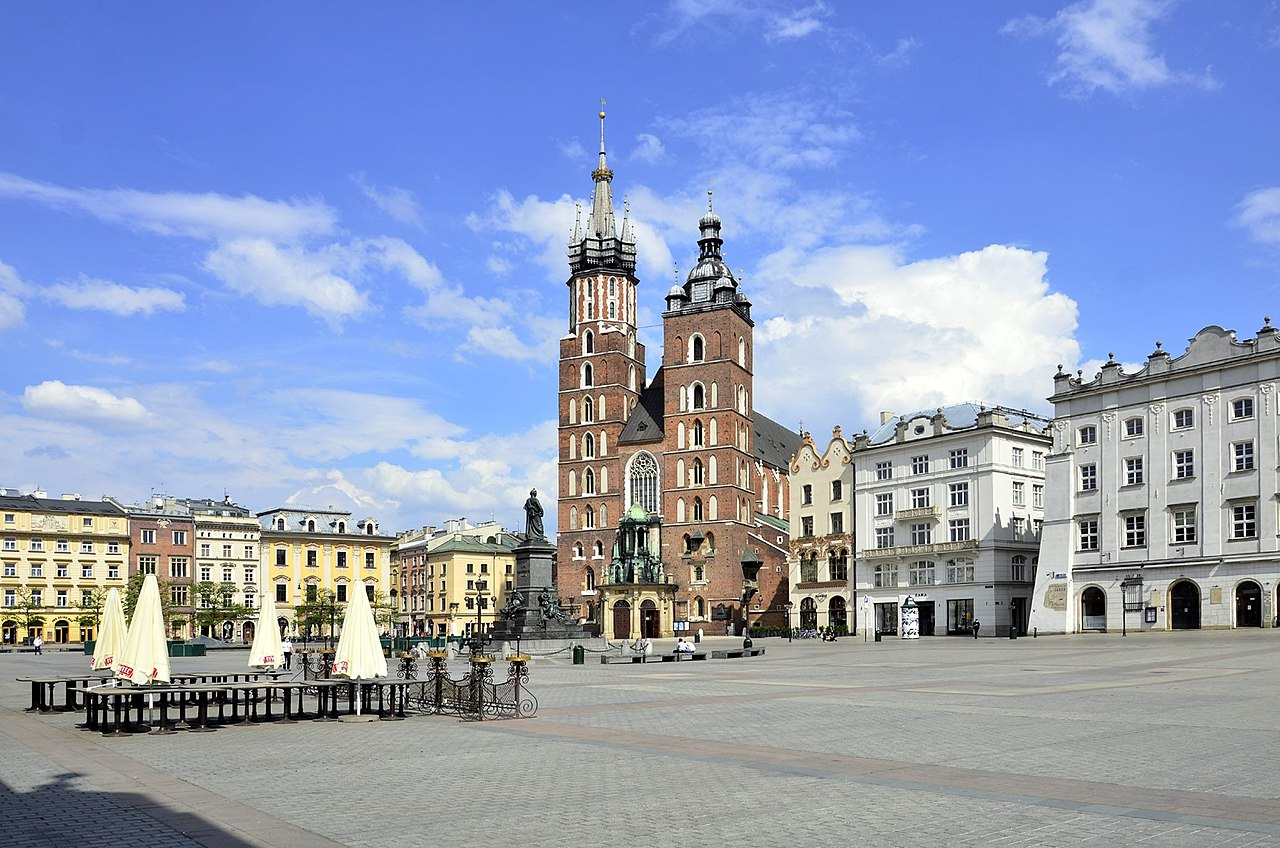 The Old Town of Krakow, Poland, preserved from before World War II.