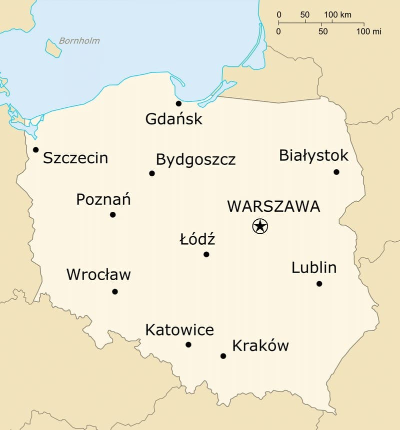 Map of Poland, showing the two largest cities, Warsaw (Warszawa) and Krakow.