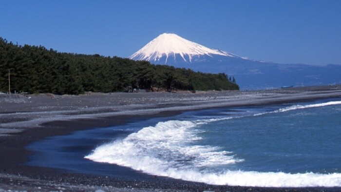 Black sand beaches in Japan