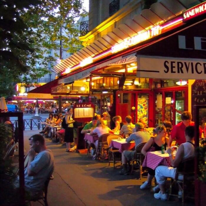 Paris Cafes at dusk