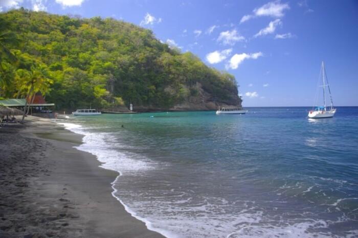 Black beaches in the Caribbean Sea