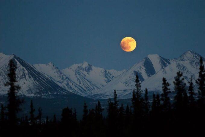 Moon over Denali National Park