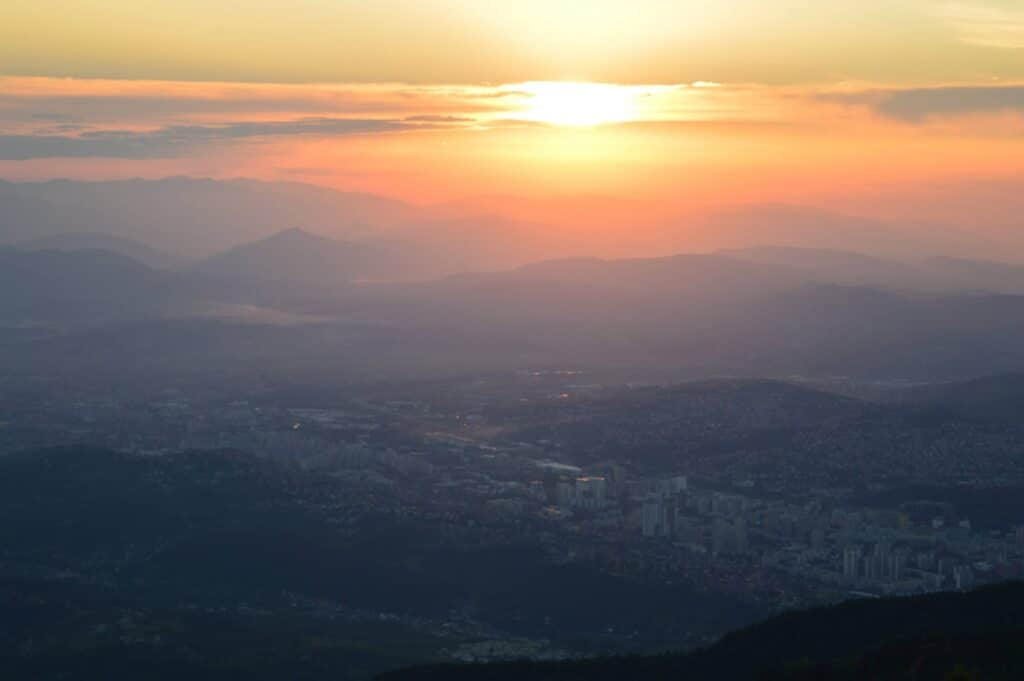 view of Sarajevo from Trebevic