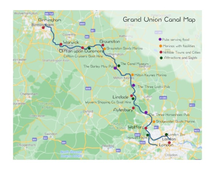 Map showing points of interest on Grand Union Canal