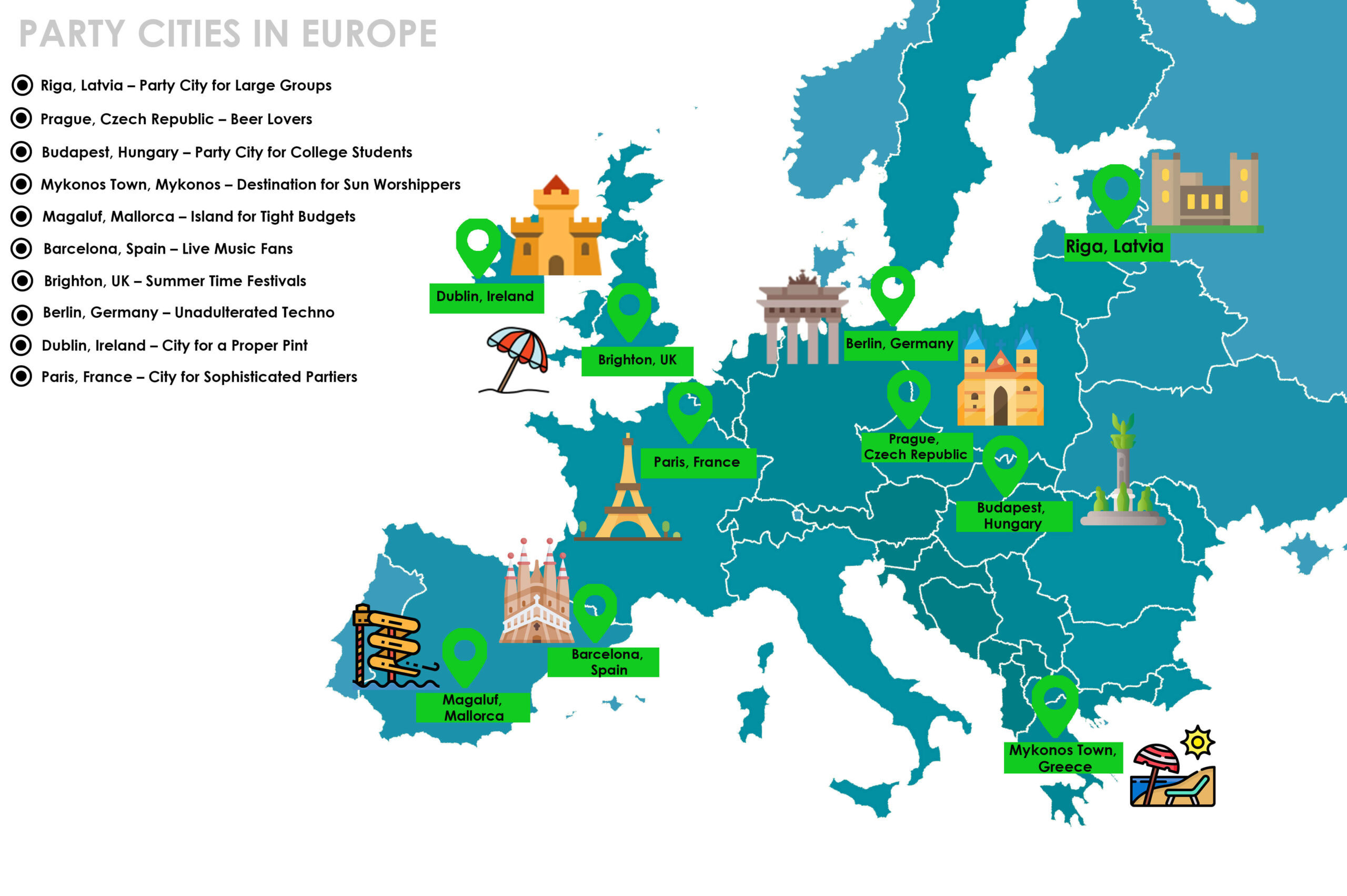 Map of Party Cities in Europe
