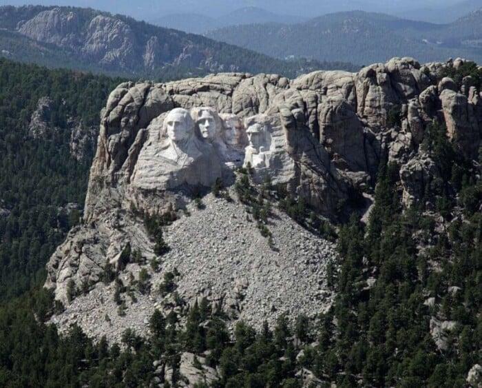 Aerial view of Mount Rushmore in South Dakota