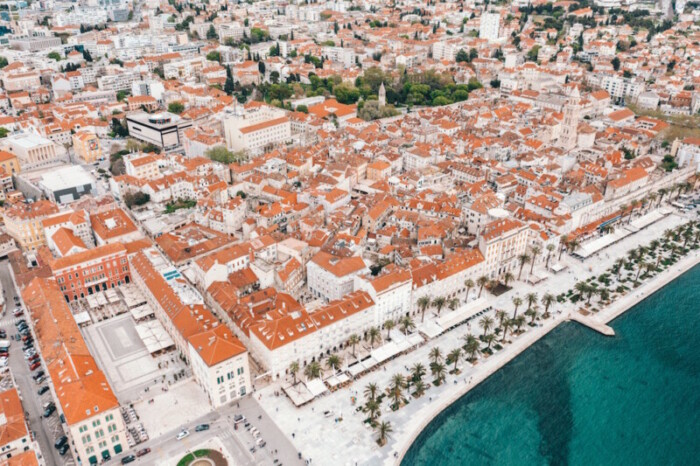Split town viewed from above