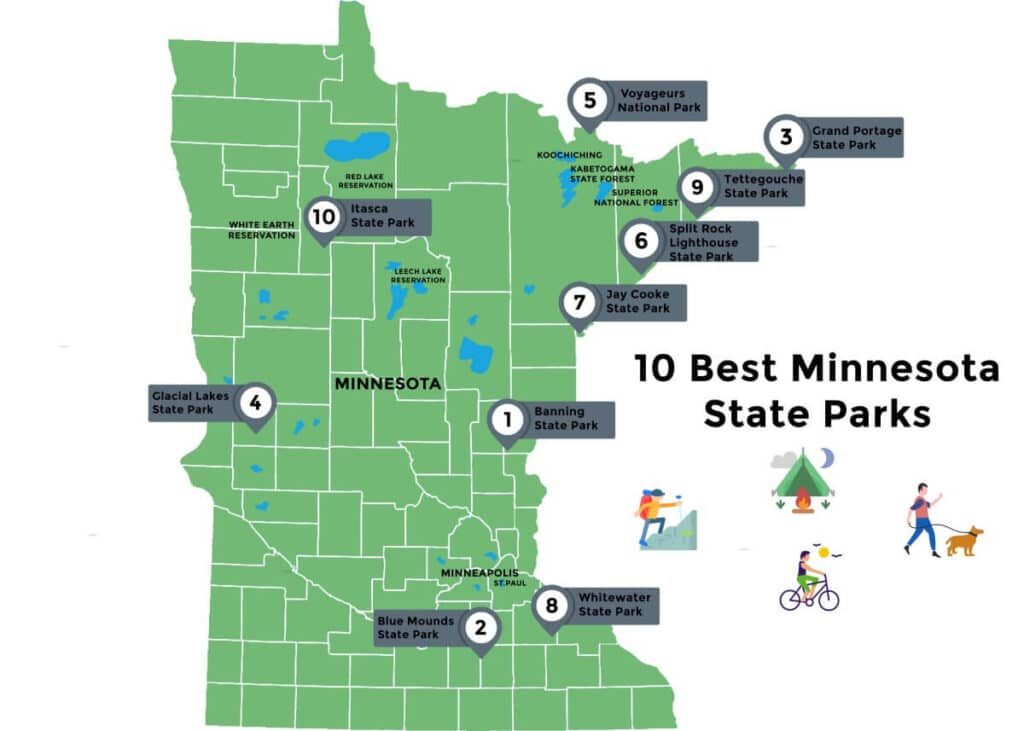 Map of Best Minnesota State Parks