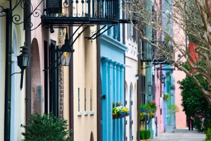 Rainbow Row is an important district in Downtown Charleston.
