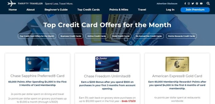 Thrifty Traveler credit cards