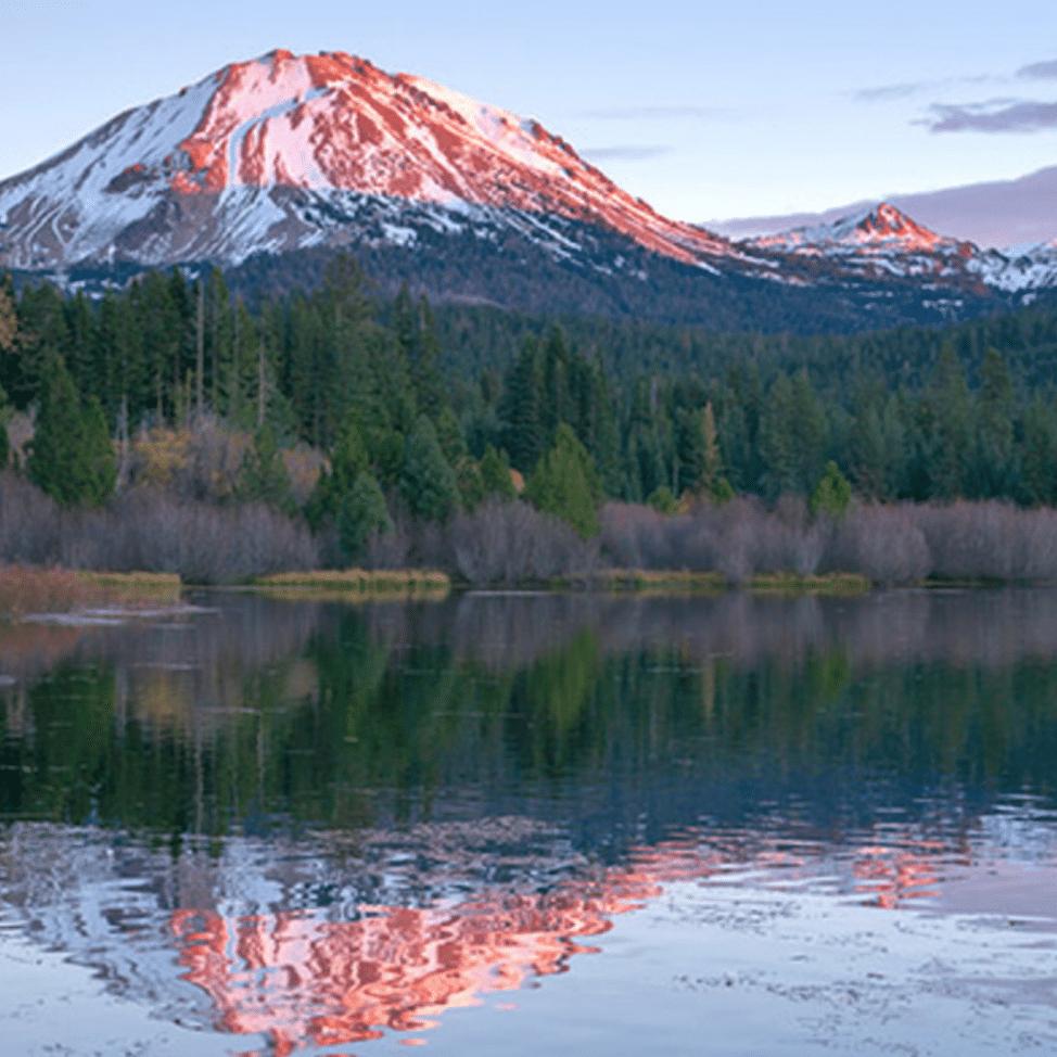 Lassen Volcanic National Park overlooking the lake