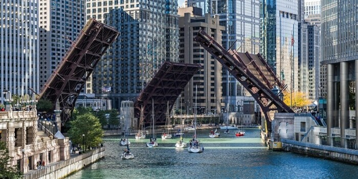 river in Chicago with bridges drawn