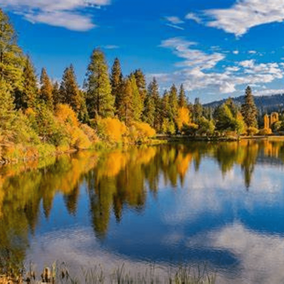 Big Bear lake lined with fall foliage
