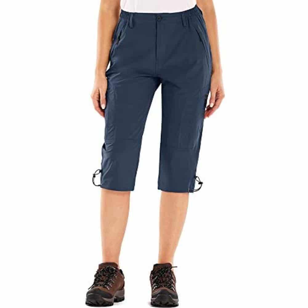 Blue cargo travel shorts