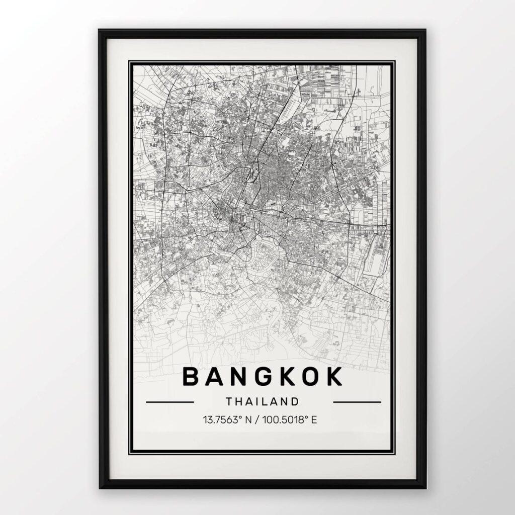 Bangkok Map Travel Poster