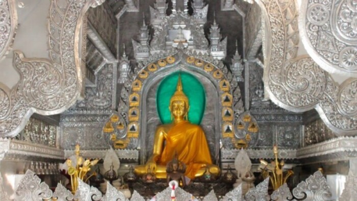 A silver temple in Chiang Mai, one of the best places to visit in Thailand.