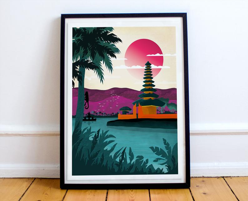 Colorful Travel Print Bali Indonesia