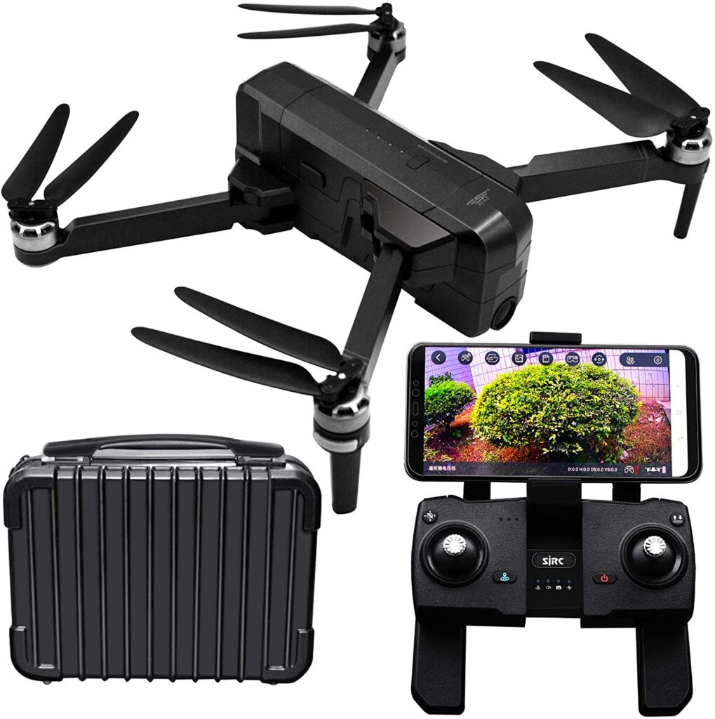 Black drone with remote control and its case