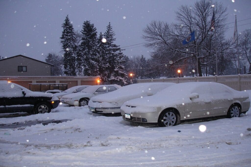 Cars covered by snow in Minnesota