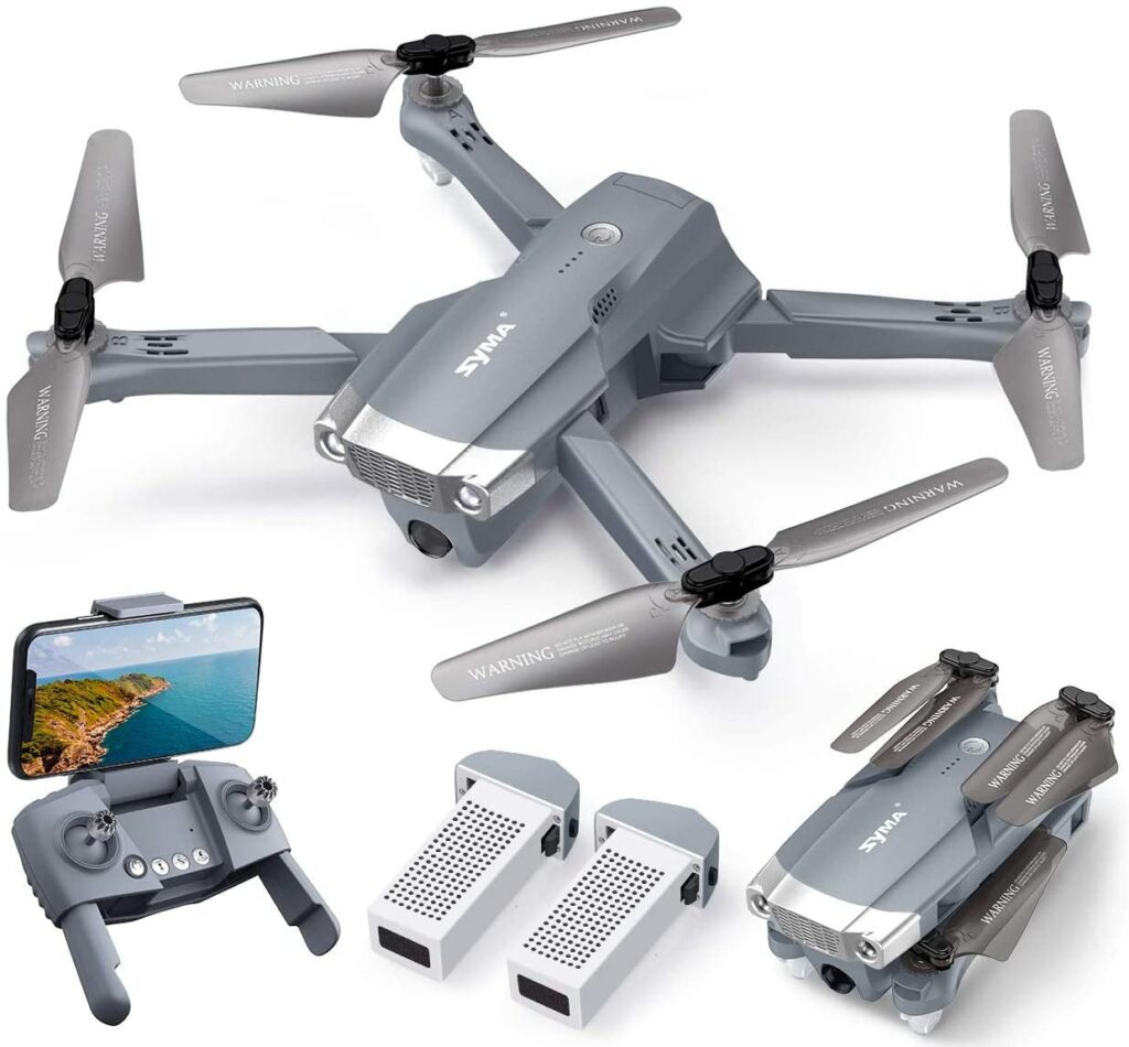 Grey drone with remote control by Syma