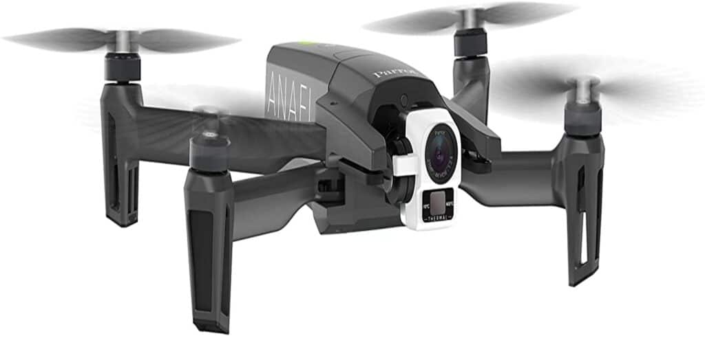 Black drone with thermal images