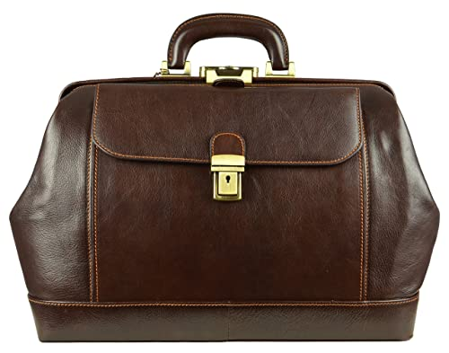 Time Resistance Leather Doctor Bag with Key Lock
