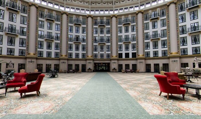 The three story atrium at the romantic hotel West Baden Springs.