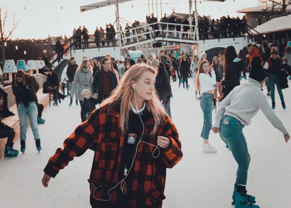 People having fun ice skating
