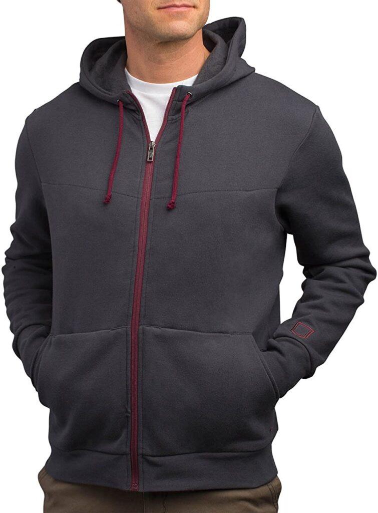 scottevest model wearing hoodie