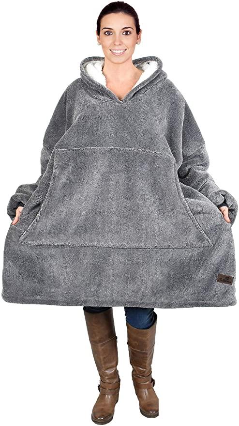 blanket hoodie model wearing hoodie