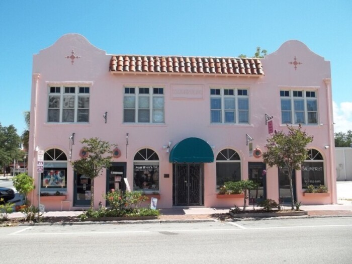 One of the pink Spanish style buildings in downtown Sarasota.