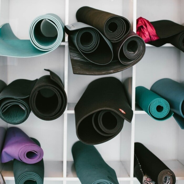 Yoga mats in cubicles