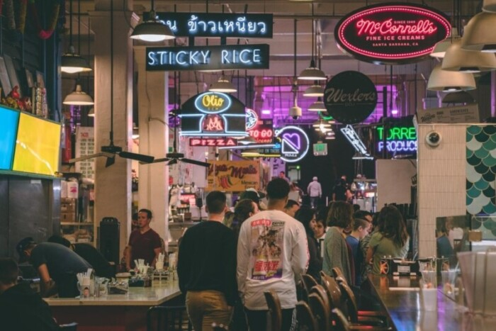 food hall with neon signs